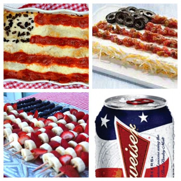 food you can make look like an American Flag: lasagna, assortment of cheeses, Budweiser, dessert