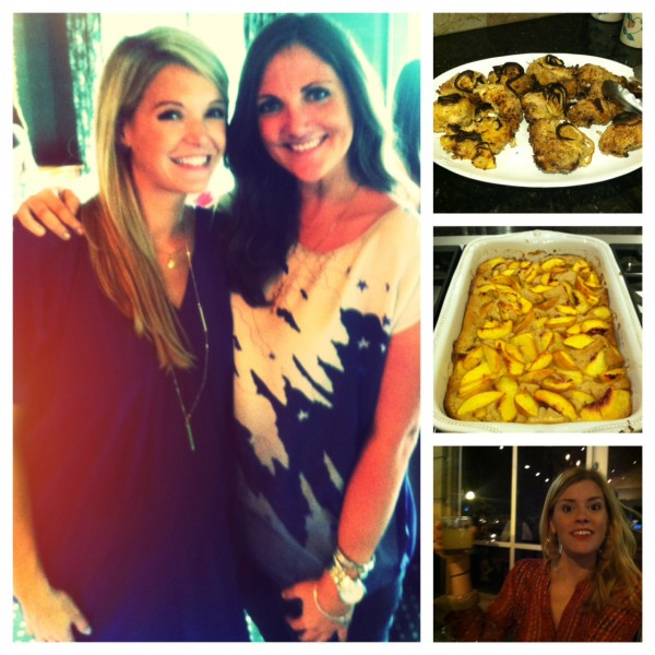 from top right: over-friend spicy chicken (YUM); Georgia peach cobbler (YUMMM); Tina; JTommLiv and BBT at her baby shower...!
