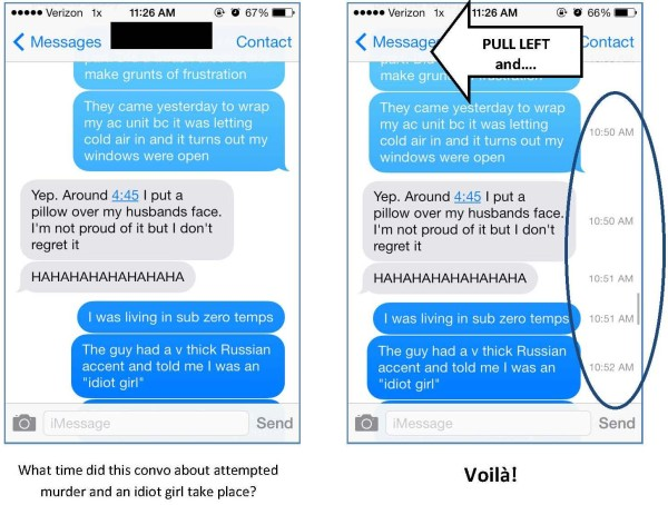 how to see time stamps on iphone imessages