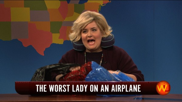 worst lady on an airplane SNL