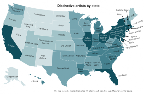 favorite band by state