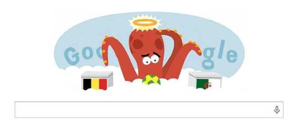 here is an angelic octopus (?) deciding who to root for, Belgium or Algeria